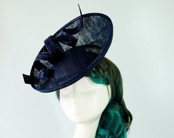 9a3fb860ef35e Navy Blue Straw Sinamay Hatinator Hat Disk Spring Racing Carnival Wedding  Party Millinery Melbourne Cup Kentucky Derby Day Classic Modern