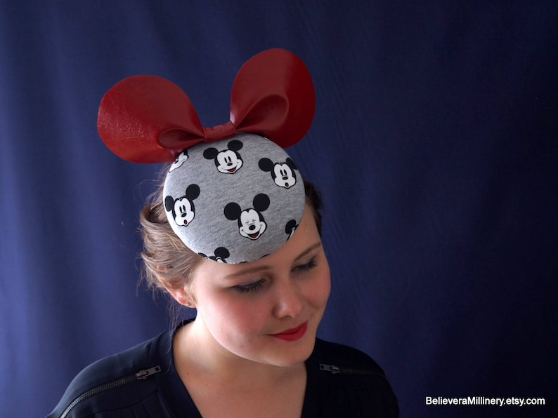 1abea9c9cf43b Mickey Mouse Hat Fascinator Hatinator Red Ears Beret Headwear