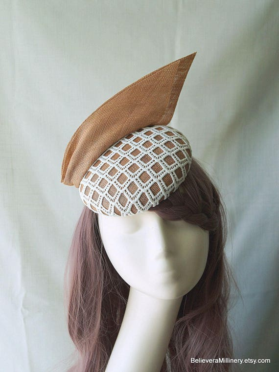 Beige Tan Hat White Lace Fascinator Hatinator Mini Hat Button ff37c4bad6c