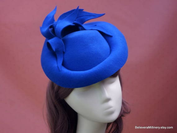 Royal Blue Wool Felt Hat Leaves Fascinator Winter Hat  401aaa6db7f5