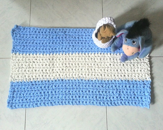 Tappeti Fai Da Te Con Fettuccia : Tappeto rettangolare in fettuccia a crochet art etsy