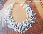 Moonstone Opalite Multistrand Necklace Wedding Illusion Raw Gemstone Floating Crochet Invisible Necklace Statement Air Healing Crystal Stone