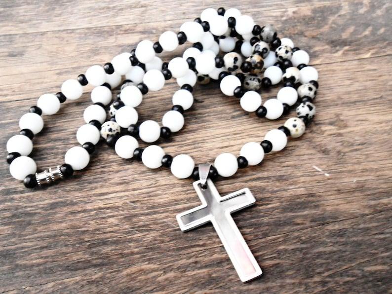 Healing Crystal Stone Yoga Meditation Mala Cross Necklace Mens Gemstone Pendant Steel Charm Beaded Dalmatian jasper White Agate Matte Beads