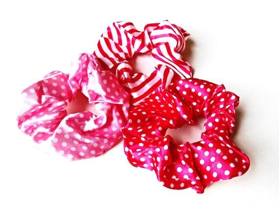 5a8d8ba0cdc6 Hair Scrunchies 3 pieces Set Pink Rose Fuchsia Satin Silk