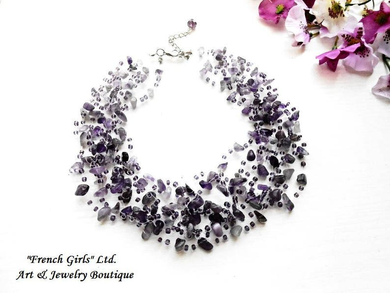 Raw Amethyst Floating Violet Gemstone Multistrand Invisible Necklace Glass Seed Beads Air Purple Crochet Bohemian Boho Crystal Art Statement