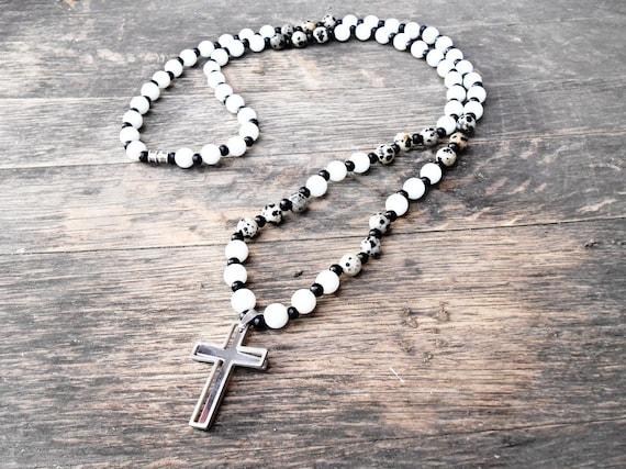 Men/'s Matte Silver Stainless Steel Cross Bead Necklace Men/'s WARRIOR CROSS Necklace Men/'s Black Onyx Gemstone Cross Pendant Necklace