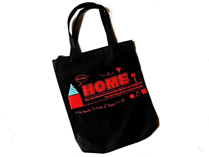 529991a618ad Black Canvas Tote Fabric Cloth Bag Printed Stamped Welcome Red