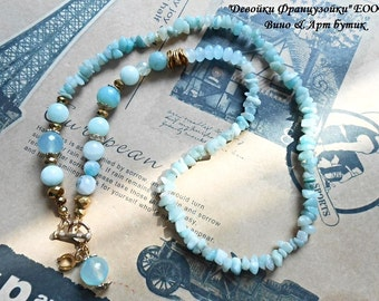 Aquamarine Blue Agate Raw Gemstone Fashion Necklace Gold Glass Crystal Gold Plated Pendant Charm Boho Chic Bohemian Jewelry Women Girl Gift