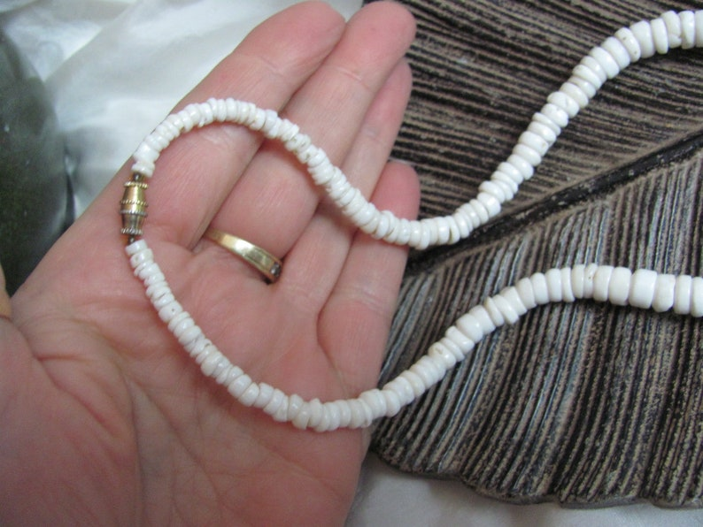 Beautiful White Genuine Puka Puca Shell Necklace  16.5 Inch Choker Necklace  Affordable Jewelry!! many to choose from Authentic