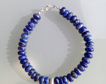 Lapis Lazuli and 925 Sterling Silver Bracelet