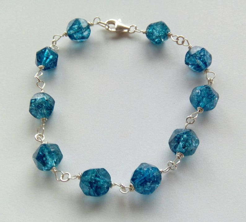Teal Blue crystal and Sterling Silver Bracelet
