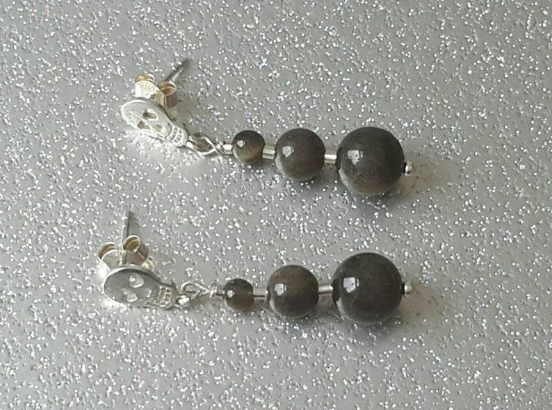 Golden Sheen Obsidian and Sterling Silver Sugar Skull Drop Earrings