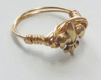 Fleur de Lis wire-wrap Ring