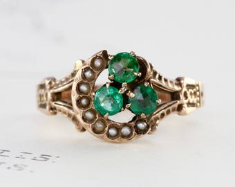 Victorian Emerald Doublet Ring, Antique 10k Rosy Yellow Gold Seed Pearl Crescent Moon Ring, Anniversary Gift
