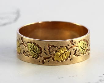 Antique Wedding Ring, Victorian 14k Rose, Yellow & Green Gold Engraved Ivy Leaf Eternity Stacking Band, Friendship Jewelry