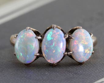 Victorian Opal Ring, Antique 10k Yellow Gold Three Stone Stacking Band, October Birthstone Jewelry