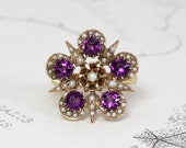 Antique Amethyst Pearl Ring, Victorian 18k Yellow Gold Sunburst Star Flower, Bohemian Statement Cocktail Ring Jewelry