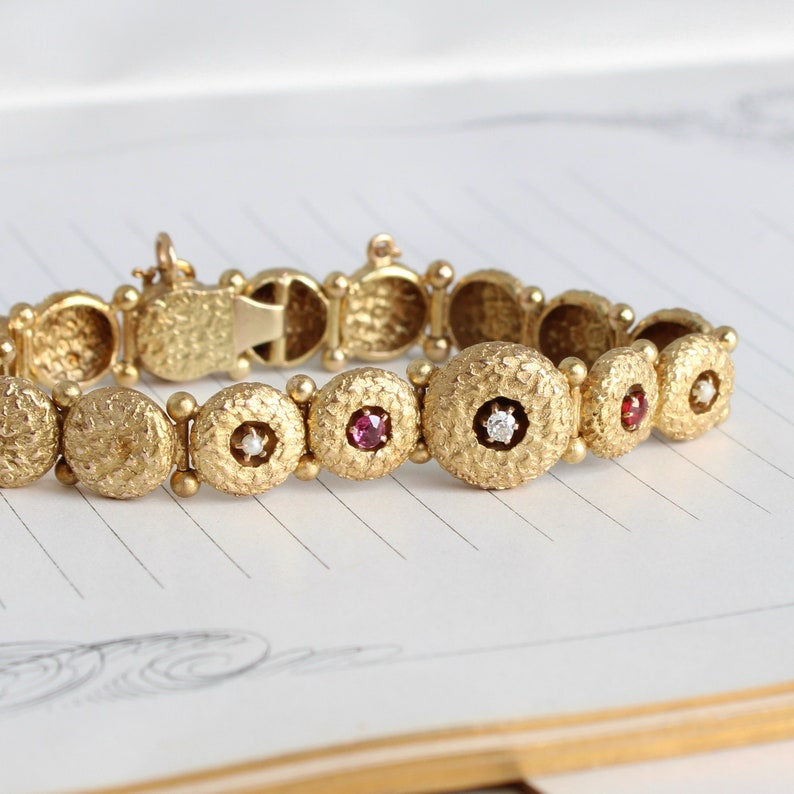 Victorian 14k Diamond Ruby & Pearl Bracelet Antique Button image 1