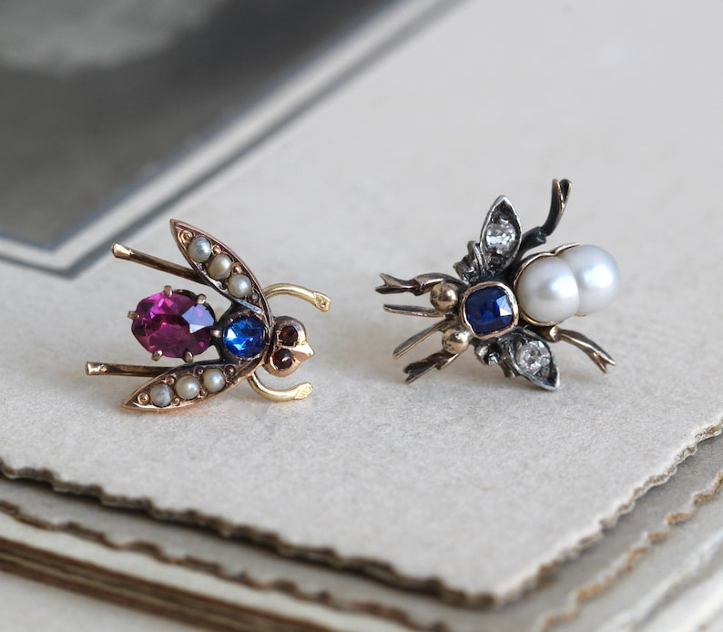 Antique Insect Stud Earrings Victorian 14k Pearl Sapphire image 0