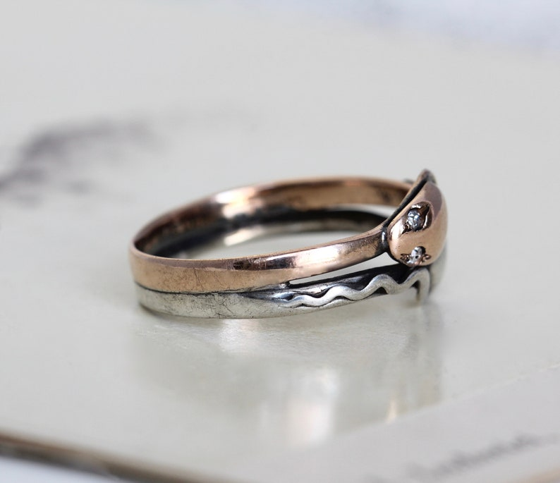 Or VictorienAntique Argent Et Diamant Sterling Rose BandeRubis Yeux En Ouroboros Serpent Bague yv6bg7Yf