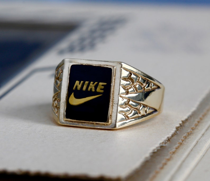 RESERVED // SOLD // Vintage Nike Swoosh Signet Ring, 1970s 10k Yellow Gold  Resin Enamel, Sports Fan Unisex Mens Jewelry
