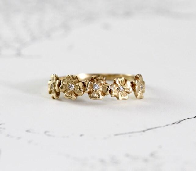 Diamond dogwood stacking band 14k yellow gold flower ring etsy image 0 mightylinksfo