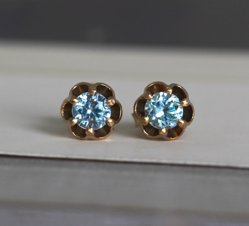 d993b4e29 Antique Zircon Stud Earrings 14k Studs Something Blue Bridal | Etsy