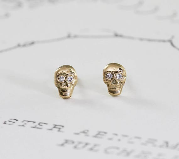 Studs 9ct Gold Skull /& Crossbones Ear Stud Earring Mens Earrings