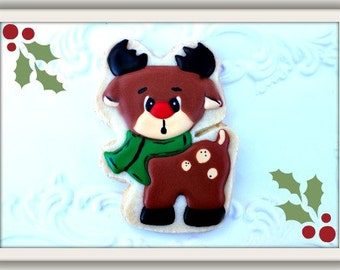 Custom Decorated Rudolph Holiday Sugar Cookie