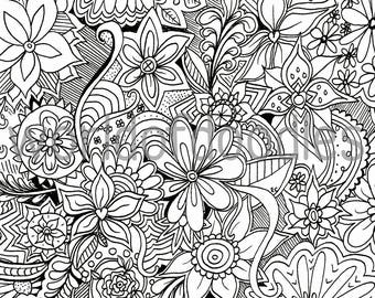flower garden 1 detailed colouring page a4 printable pdf download adult colouring relaxation zentangle mindfulness summer