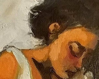 Free Shipping Original Oil Painting 8 x 10, The Ironess, inspired by Degas, impressionist, fine art, dress, figurative, vintage, textured