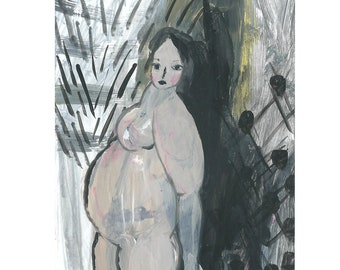 Pregnant woman art, Female painting, Small painting on paper, Original art