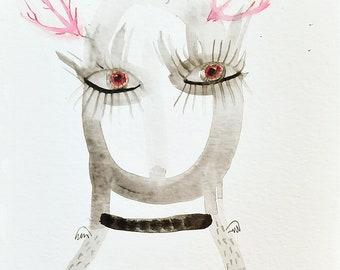 Angel girl painting original, Girl drawing, original art