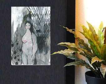 Female painting, Small painting on paper, Original art