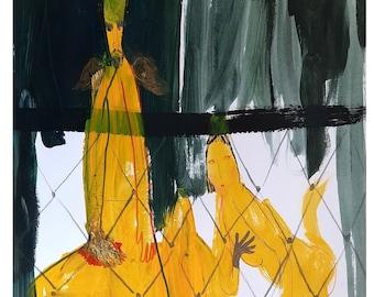 Yellow demons painting original, art original by Taly Levi