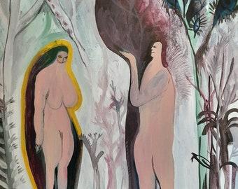 Adam and Eve painting, Naive art, Folk art, Original art, Acrylic painting on canvas