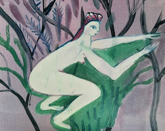 Naive painting, Purple, Folk art, Original woman painting on canvas, original art, one of a kind art