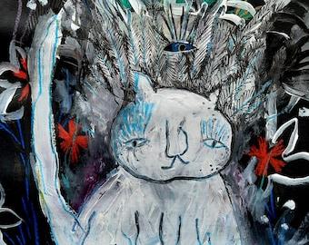 Cat painting on paper, Original painting, Original art cats