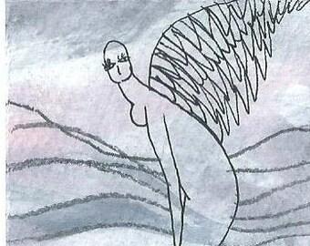 Original aceo, Blessing card, Aceo, Mini artwork, Angel painting, Original art