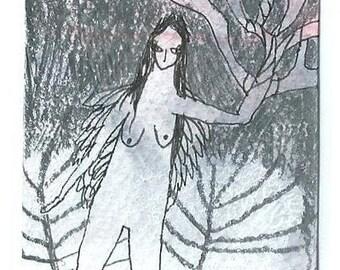 Blessing art card, Aceo, Mini artwork, Angel painting, Original art