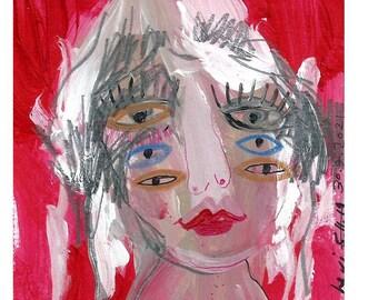 Outsider art original, Original art, Original painting, One of a kind art, couple gift