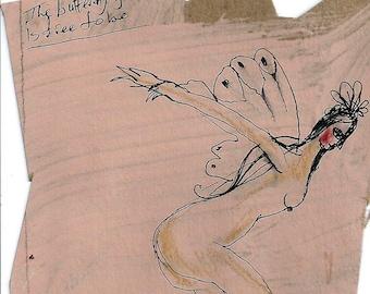 Original painting, small artwork original, gallery wall art, butterfly girl, gift