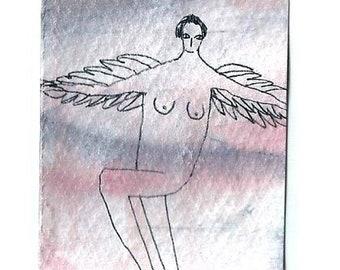 Aceo, Mini art card, Angel painting, Blessing, Original art
