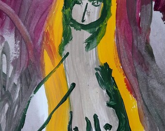 Demon painting original, art Original by Taly Levi