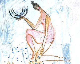 Original painting on paper, female art original
