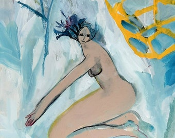 Nude woman painting on canvas, Original art, Acrylic painting, Small painting
