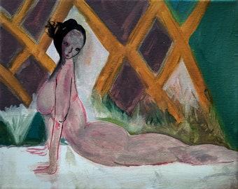 Original woman painting on canvas, original art, one of a kind art