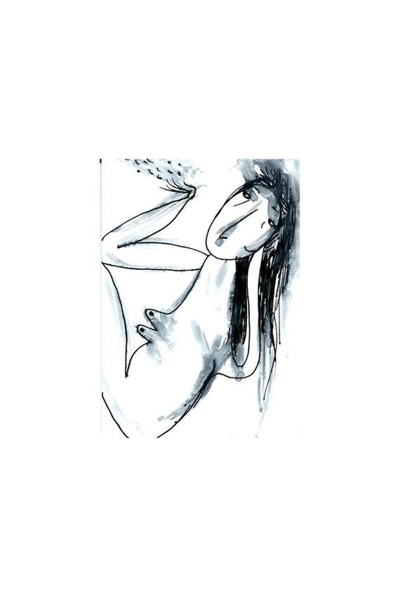 Schöne Nackte Tinte Original Aceo Einfache Linie Zeichnen Etsy