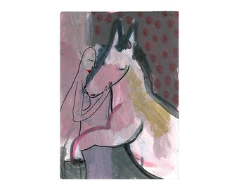 Horse rider girl, Mini Aceo card, Aceo, Original ACEO, Female art, Original art card