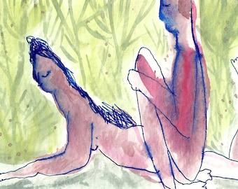 Aceo card original, Artist Trading Cards, Original art painting watercolor